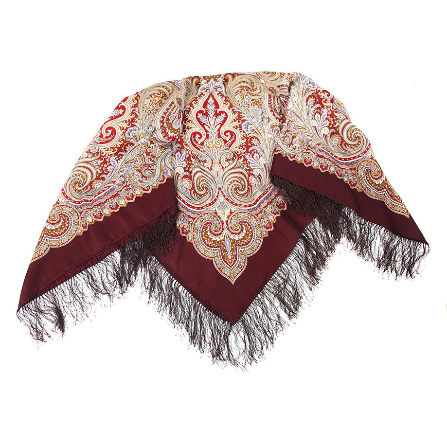 Russian Shawl - Brown With Maroon Intricate Pattern