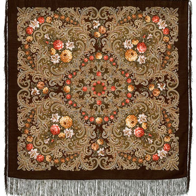 Russian Shawl - Cocoa With Pattern