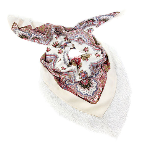Russian Shawl - White With Pattern And Roses