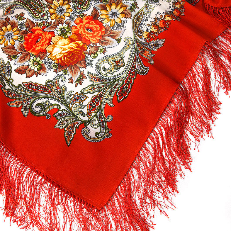 Russian Shawl - Fire Red With Orange Roses