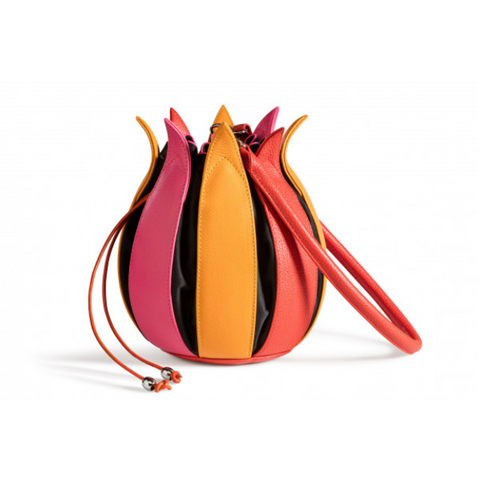 By-Lin Pink, Yellow And Orange Leather Tulip Bag