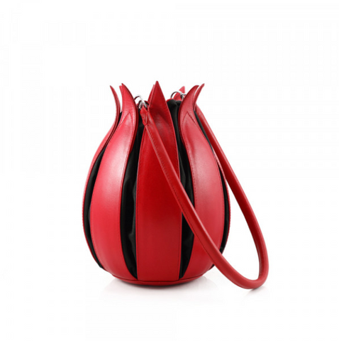 By-Lin Red And Black Leather Tulip Bag
