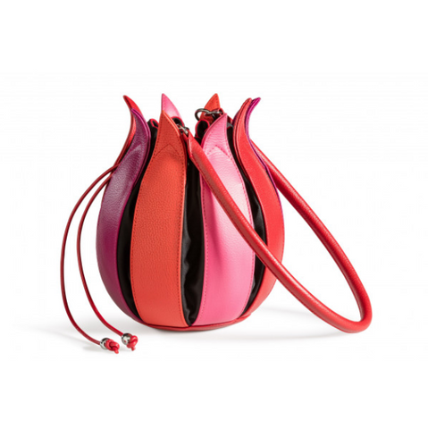 By-Lin Pink, Red And Fuchsia Leather Tulip Bag
