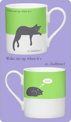 Silhouette Mug Sleepy Cat, Green