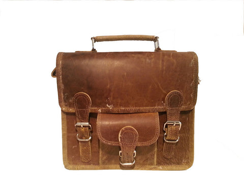 Scaramanga Small Wide Satchel Handle And Front Pocket