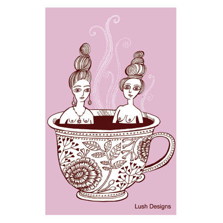 Lush Designs Teacup Ladies Tea Towel Pink