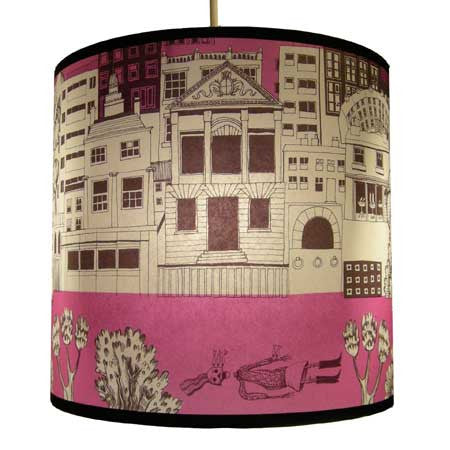 Lush Designs Townscape Lampshade Pink