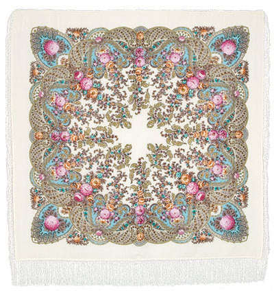 Russian Shawl - Cream With Pastel Roses