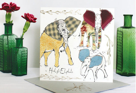 Anna Wright Herd Of Elephants Greetings Card