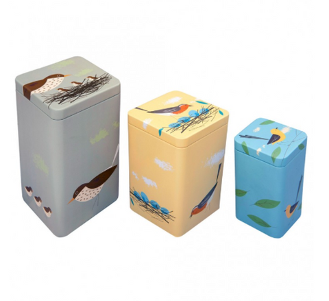Cubic Birdy Set Of 3 Tins