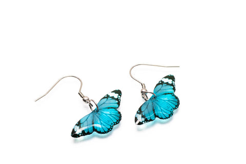 Acdria Small Tiger Butterfly Earrings In Blue
