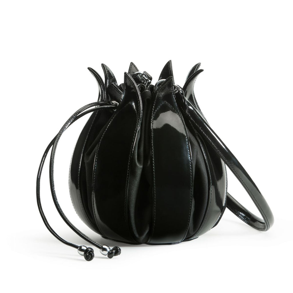 By-Lin Black Enamel Leather Small Tulip Bag
