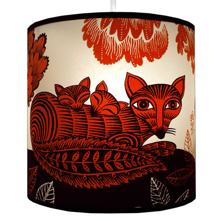 Lush Designs Fox & Cubs Lampshade Red