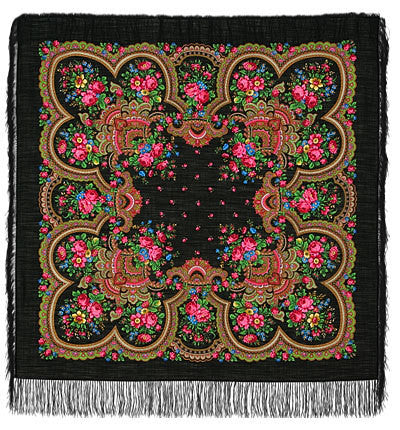Russian Shawl Black With Roses