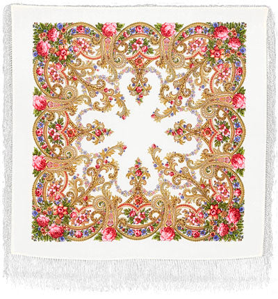 Russian Shawl - White With Roses And Flowers