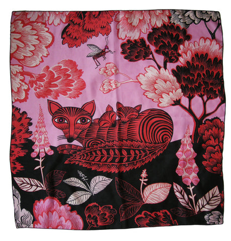 Lush Designs Fox & Cubs Silk Scarf Pink