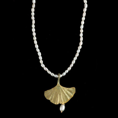 Michael Michaud Gingko Single Drop Pearl Necklace