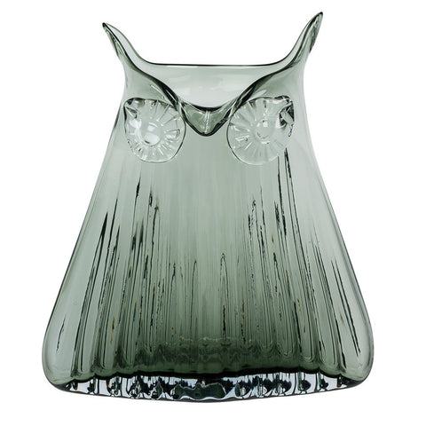 Cubic Large Glass Owl Vase In Grey