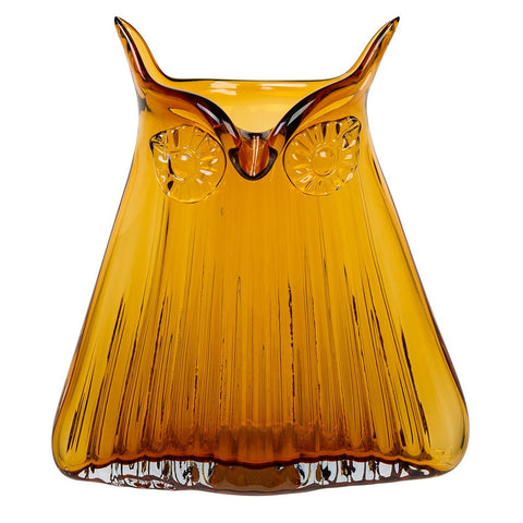 Cubic Large Glass Owl Vase In Orange
