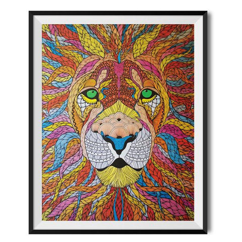 Wraptious Multicolour Lion A3 Print