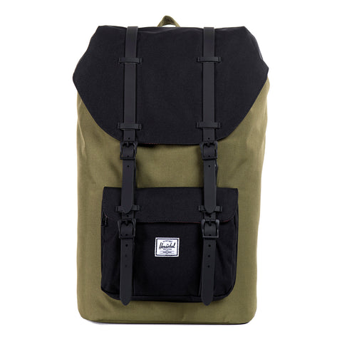 Herschel Little America Backpack In Army And Black