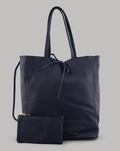 Yoshi Mariel Leather Shopper Tote Bag In Navy