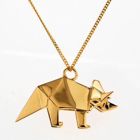 Origami Triceratops Gold Plated Necklace