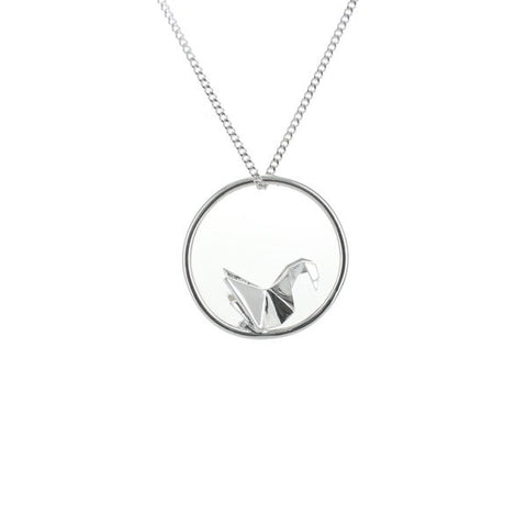 Origami Jewellery Swan Circle Necklace In Silver