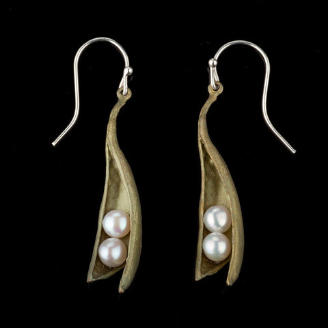 Michael Michaud Pea Pod Large Wire Drop Earrings With Pearls