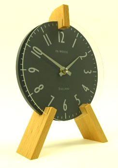 InHouse Clocks Peg Mantel Clock Beech Grey
