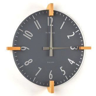 InHouse Clocks Grey Peg Wall Clock