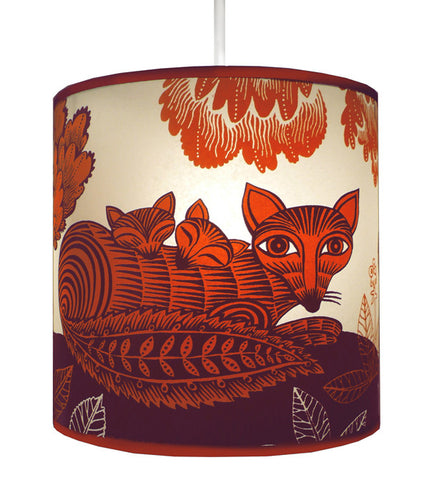 Lush Designs Fox and Cubs Plum Lampshade