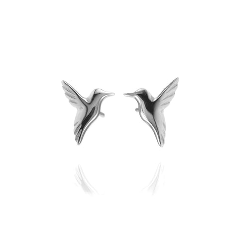 Jana Reinhardt Small Silver Hummingbird Stud Earrings