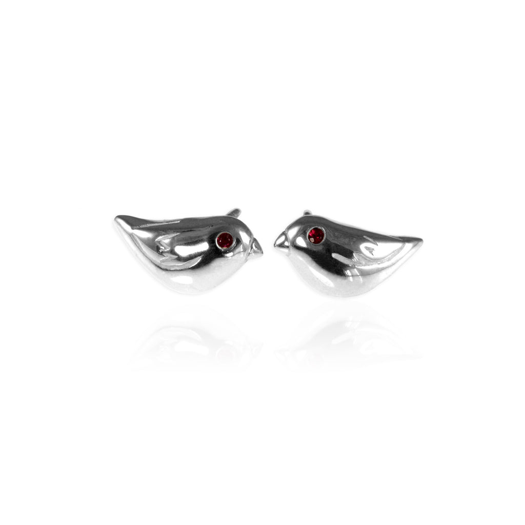 Jana Reinhardt Silver Sparrow Stud Earrings With Rubies