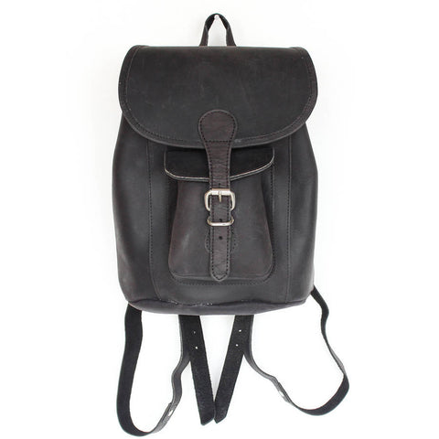 Scaramanga Buffalo Leather Mini Boho Backpack In Black