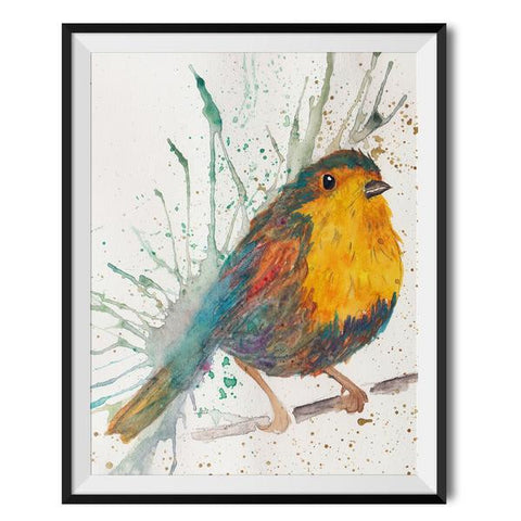 Wraptious Splatter Robin A3 Print