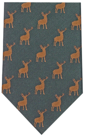 Woven Stag On Green Silk Tie
