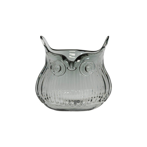 Cubic Tiny Glass Owl Vase In Grey