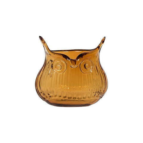 Cubic Tiny Glass Owl Vase In Orange