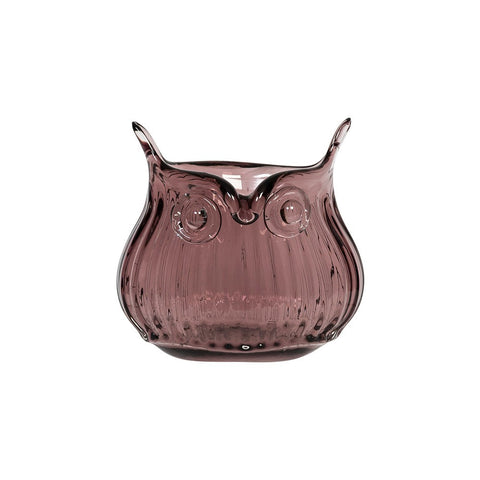 Cubic Tiny Glass Owl Vase In Purple