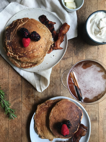 Cherry Walnut Pancakes with Aromatic Maple Whipped Cream and Churchill Breakfast Cocktail