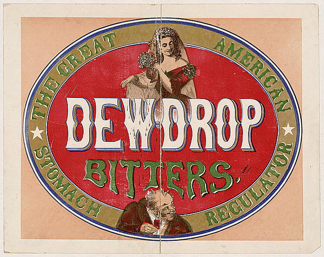 Historic Dewdrop Bitters Label