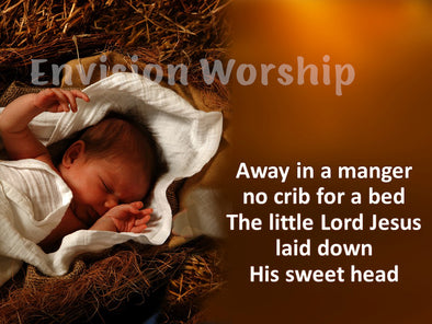 Away in a Manger church slides with lyrics