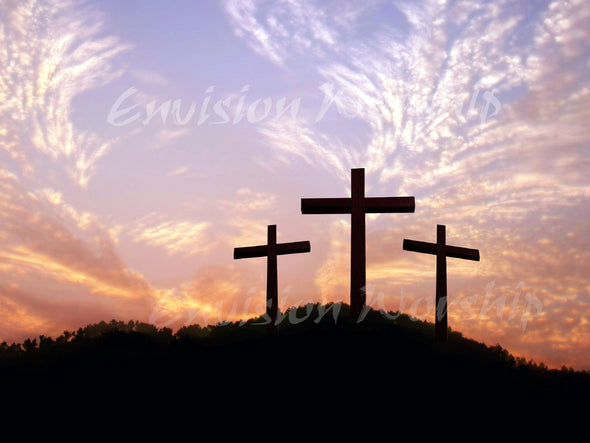 Easter Background with three crosses on Calvary at dawn.