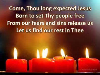Come Thou Long Expected Jesus church slides with candles