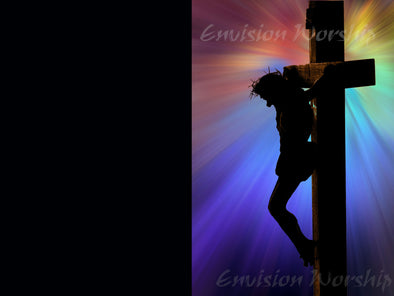 Good Friday Crucifix PowerPoint with rainbow colors