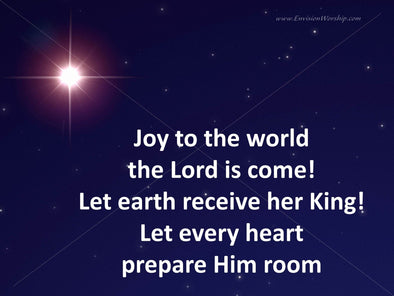 Joy to the world church slide with lyrics included and gorgeous star sets the mood for worship