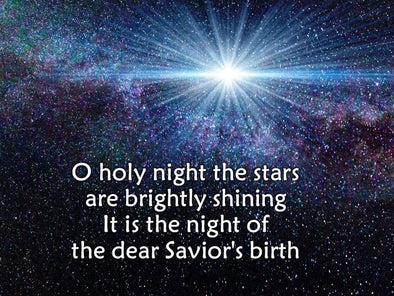 O Holy Night church slides with a gorgeous Star of Bethlehem bright against a starry night.