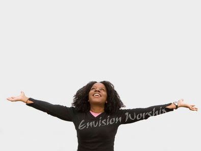 Praise church PowerPoint with a real woman reach her arms up authentically in praise - marvelous!