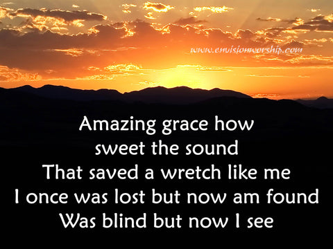 Amazing Grace church PowerPoint; complete with the lyrics and stunning sunrays instantly communicates hope and a new day